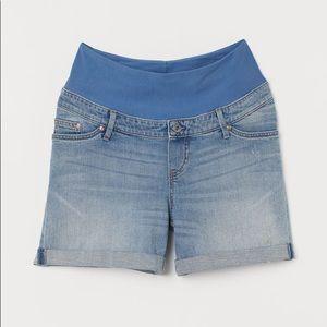 H&M Mama Light Denim Jean Shorts Low Rib Size 6